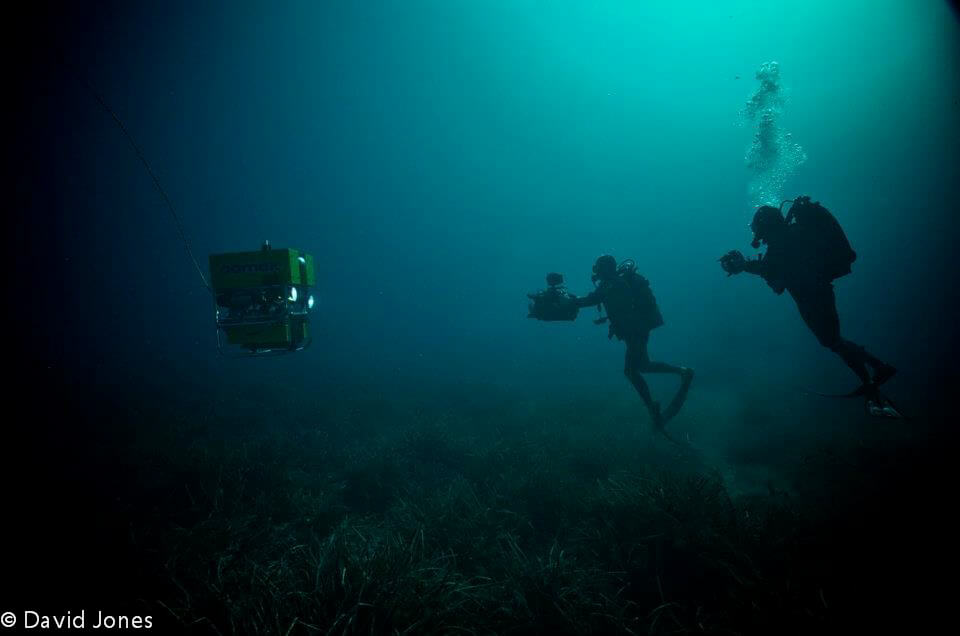 Filming with a ROV during the making of A Plastic Ocean